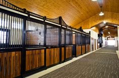 Nice wide aisleway. Beautiful Brazilian Cherry wood in the Lucas Equine horse stalls. Dramatic peaks in the stall and the ceiling.