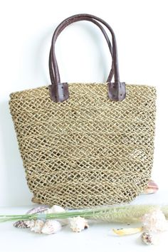 Women's Casual Summer Beach Woven Straw Tote by fluteofthehour, $27.95