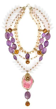 Tony Duquette, vintage biwa pearl, amethyst, rose quartz, amber, garnet, rhodochrosite and vermeil necklace, soldfor $8,540.00