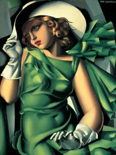 Jeune Fille Vert Tamara Lempicka Giclee Art Print WIth Stretched Canvas Option This is a high quality fine art giclee print of an art deco style painting by Tamara De Lempicka entitled ' Jeune Fille en Vert '. **Please note: additional images. Arte Art Deco, Moda Art Deco, Estilo Art Deco, Pinturas Art Deco, Tamara Lempicka, Lolita Lempicka, Romain Gary, Pompidou Paris, Georges Pompidou