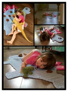 Elin so happy with her Dinocarpet. Crochetpattern from Ira Rott