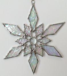 stained glass snowflake suncatcher design 31C by bitsandglassart