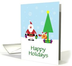 Happy Holidays with Santa Reindeer and Gifts/Custom card. Thank you customer in Illinois!