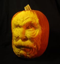 Monster Mustache Pumpkin Sculpture / Carving by Jeff Brown