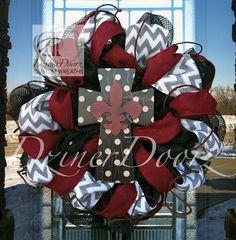 Chevron Burlap and Polka Dot Burgundy Cross deco mesh Wreath.