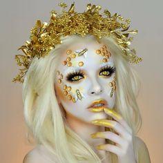 Colourful Golden Bee Make Up Art by Kimberleymargarita_ Bee Makeup, Gold Makeup, Crazy Makeup, Yellow Makeup, Makeup Stuff, Face Paint Makeup, Makeup Art, Beauty Makeup, Cosplay Makeup