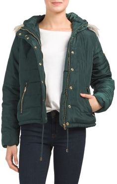 Juniors Puffer With Faux Fur Hood