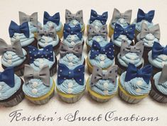 Bow ties and buttons baby shower cupcakes. Navy, gray, and baby blue color scheme. White Baby Showers, Grey Baby Shower, Boy Baby Shower Themes, Baby Shower Gender Reveal, Baby Shower Parties, Baby Shower Decorations, Cupcakes For Boys, Baby Shower Cupcakes For Boy, Bow Tie Cupcakes