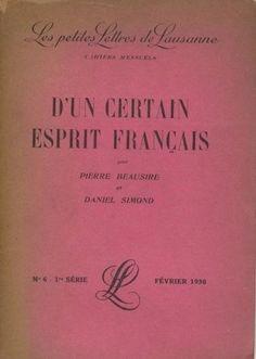 les petites lettres de lausanne   d'un certain esprit français