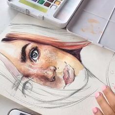 As an artist, I sell all my works. Watercolor Portrait Tutorial, Watercolor Portrait Painting, Watercolor Art Face, Watercolor Paintings For Beginners, Watercolor Art Lessons, Portrait Art, Watercolor Illustration, Watercolor Artists, Painting Lessons