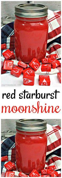 Red starburst moonshine recipe…soo good for parties!giftideascorn… Red starburst moonshine recipe…soo good for parties! Party Drinks, Cocktail Drinks, Fun Drinks, Cocktail Recipes, Mixed Drinks, Vodka Cocktails, Moonshine Cocktails, Moonshine Alcohol, Peach Moonshine