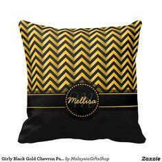 Girly Black Gold Chevron Pattern Monogram Pillows