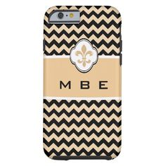 Personalized Gold Black Fleur de Lis Chevron