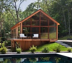 Amazing wooden retreat designed by Lang Architecture located in Kerhonkson, New York, United States..