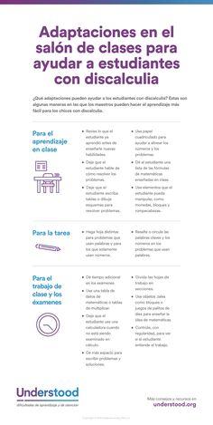 Adaptaciones del salón de clases para ayudar a los estudiantes con discalculia