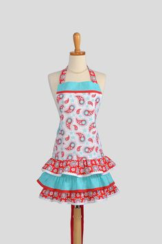 Ruffled Retro Apron  Teal and Red Paisley on by CreativeChics, $40.00