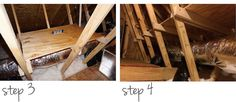 How to make a shelf. Diy Storage Shelves In The Attic - Step 3 Diy Storage Shelves, Loft Storage, Garage Storage, Storage Ideas, Attic Spaces, Diy Home Crafts, Kitchen And Bath, Home Organization, Easy Diy