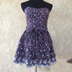 Strapless Dress Summer strapless dress. In like new condition. With pretty strawberry floral print. It has the strap hooks but no straps. Fully lined, Size M. YOUNG IN Dresses Strapless