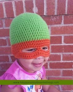 FREE Crochet Ninja Turtle Mask Beanie Pattern Size Small - Holyjeans and My Favorite Things
