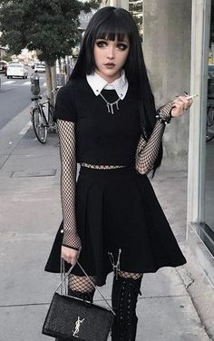 33 Alternative Looks For This Halloween 33 Alternative Looks For This Halloween Are You Looking For Outfits Ideas For This Halloween Then Check Out These 33 Alternative Looks And Get Inspired Black Nu Goth Outfit By Kinashen Diy Outfits, Tumblr Outfits, Cute Casual Outfits, Grunge Outfits, Egirl Fashion, Dark Fashion, Fashion Outfits, Punk Goth Fashion, Gothic Fashion