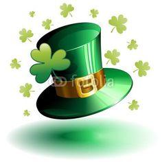 St #Patrick's #Day #Hat and #Shamrock-#Vector © bluedarkat #47919635 -     http://us.fotolia.com/id/47919635