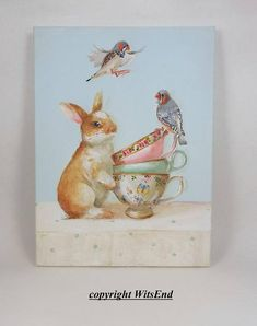 Bunny Birds Tea painting original tea cups still life art Tea And Company, by WitsEnd via Etsy