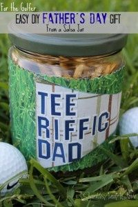 Golf Tee Jar Fathers Day Craft- salsa jar, paint the lid, add scrapbook paper and golf tees and easy fun gift for golfer dad.