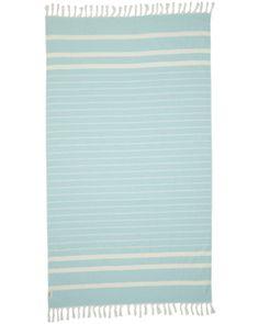 80% Cotton / 20% Bamboo blend Mint on white stripe