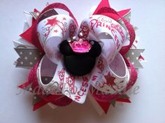 A must for Mia for our trip to Disney next year  Minnie Mouse Princess Girls Boutique Hair Bow by MadeForMaddie, $7.50