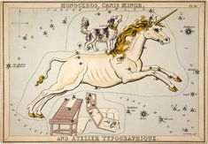 """Vintage Constellations Print """"Canis Major"""" Antique Nature Print - Unicorn and Dog Stars - Pastel Pale Blue Pink White - Zodiac Sky Whimsica"""