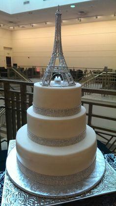 Paris theme wedding cake