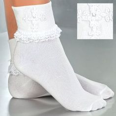 Girls First Holy Communion Socks with Venise Lace Cross & Pearls -  Childrens White Anklet Socks with Lace Ruffles - Holy Communion Hosiery