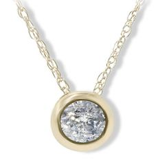 Bliss 14k Yellow Gold 1/4ct Diamond Bezel-set Pendant Necklace (H-I, I1-I2) - Overstock™ Shopping - Top Rated Bliss Diamond Necklaces