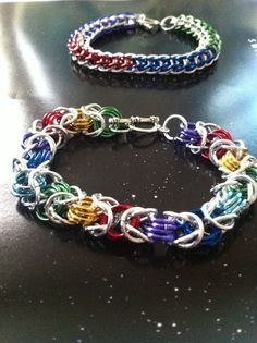 Rainbow Byzantine Chainmaille Bracelet by ThePinkPandaCrafts, $15.00