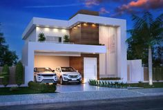 Luxurious and Modern Two-Storey House Plan With Clean Facade House Outside Design, Simple House Design, House Front Design, Minimalist House Design, Modern House Facades, Modern Exterior House Designs, Dream House Exterior, Exterior Design, Two Storey House Plans