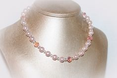 Vintage pink faux pearl and glass beaded choker necklace. Simple but lovely!