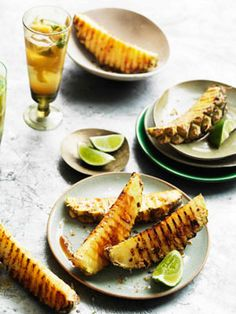 Australian Gourmet Traveller recipe for Char-grilled pineapple wedges with chilli salt No Salt Recipes, Gourmet Recipes, Dessert Recipes, Drink Recipes, Chili, Pineapple Recipes, Pineapple Fruit, Grilled Fruit, Barbecue Recipes