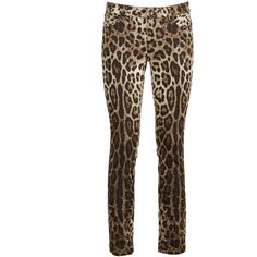 Leopard Printed Jeans ($519) ❤ liked on Polyvore featuring jeans, brown, womenclothingjeans, dolce gabbana jeans, zipper jeans, 5 pocket jeans, leopard print jeans and white jeans
