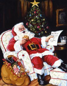 Cookies and Milk by Joseph Holodook ~ Santa ~ Christmas Christmas Scenes, Christmas Quotes, Christmas Pictures, Christmas Greetings, Christmas Ecards, Father Christmas, Santa Christmas, Christmas Holidays, Image Halloween