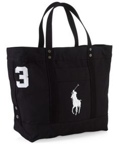 dc1305c66f72 Polo Ralph Lauren Men s Big Pony Canvas Tote - Natural Navy Big Tote Bags