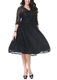 Vestiti da donna · Laisla fashion Donna Abito Cerimonia Al Ginocchio  Elegante Anni 50 Vintage Cute Chic Pizzo Swing Vestito fa2039f8d8c