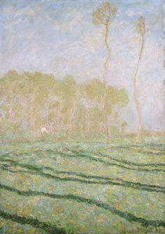 """Claude Monet, Paysage de printemps à Giverny, huile sur toile, 30,5 X 45,7 cm, 1894. Collection privée. Dans """"Correspondances Impressionnistes"""", Editions Diane de Selliers"""