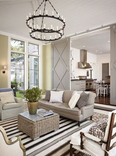 100 Charming Farmhouse Living Room Ideas to Try at Home - living room decor idea with barn door. Interior Barn Doors, Home Interior, Interior Design, Interior Ideas, Gray Interior, Classic Interior, Home Living Room, Living Room Designs, Living Spaces