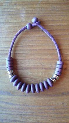 Aarikka Finland Vintage  Necklace  Violet Wood and Metal Beads Chunky Retro #Aarikka