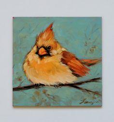 Cardinal 5 X 5 pouces original peinture à l'huile par LaveryART