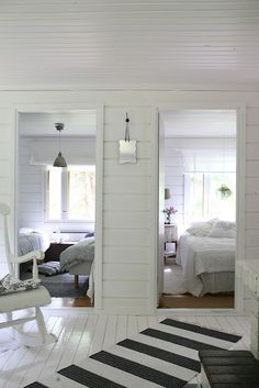 white rooms in a beach house. Reminds me of the bedrooms in my Grandparents old house in Wildwood, NJ. White Cottage, Cozy Cottage, Summer House Interiors, Home Interior, Interior Design, White Rooms, Scandinavian Home, Beach House, Sweet Home