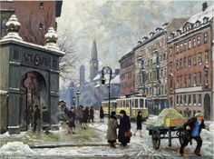 Paul Gustave Fischer (1860-19 34): Københavnsk gadescene Translate  Hjørnet af Vester Voldgade og Stormgade.  40/5000 The corner of Vester Voldgade and Stormgade.