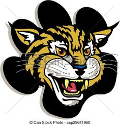 Vector - wildcat mascot - stock illustration, royalty free illustrations, stock clip art icon, stock clipart icons, logo, line art, EPS picture, pictures, graphic, graphics, drawing, drawings, vector image, artwork, EPS vector art