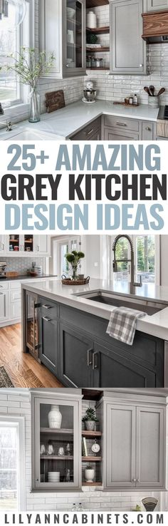 Today we're sharing 25+ gorgeous grey kitchen design ideas we love. We'll go over different shades of gray kitchen cabinets, kitchen island designs, wall colors, hardware, flooring, and more! Visit our blog to learn more. . . #KitchenCabinets #GreyCabinets #KitchenDesign #KitchenIdeas Lily Ann Blog