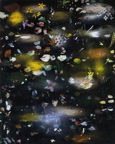 "Ross Bleckner  Flowers  60""by48""  iol/canvas  1994    represented by Mary Boone"